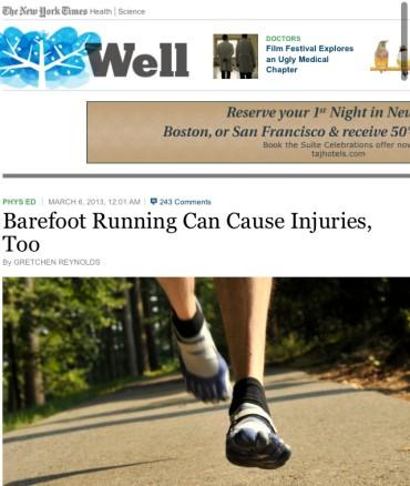 裸足ランも怪我を引き起こす!by New York Times