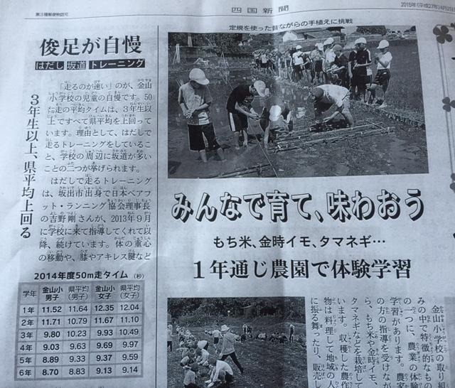 全校生徒の平均が裸足ランで速くなった! 四国新聞